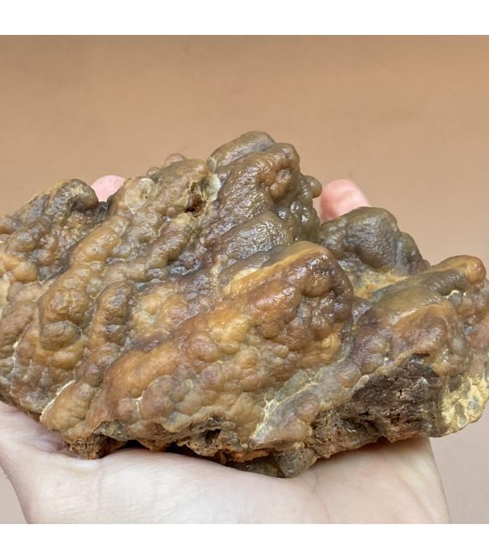 Smithsonite epimorph on calcite, San Giovanni mine, Sardinia, Italy