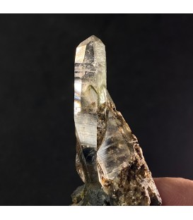 Gem Anatase on hyaline quartz, Alpe Moar , Switzerland