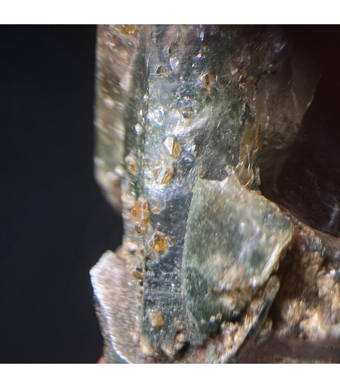 Gem Anatase on hyaline quartz, Alpe Moar , Switzerland