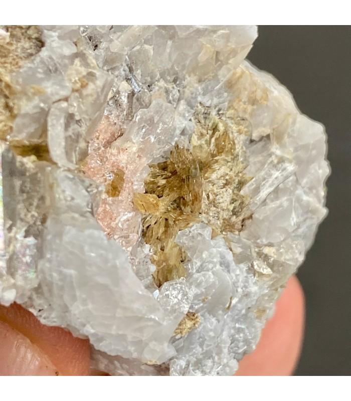 Mn Axinite on quartz with rhononite - M. Pu, Liguria, Italy
